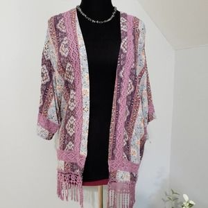 Purple and Blue Floral Fringe Lace Kimono Small